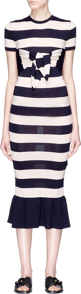 Alexander White 'The Rosalind' tie bandeau stripe peplum dress