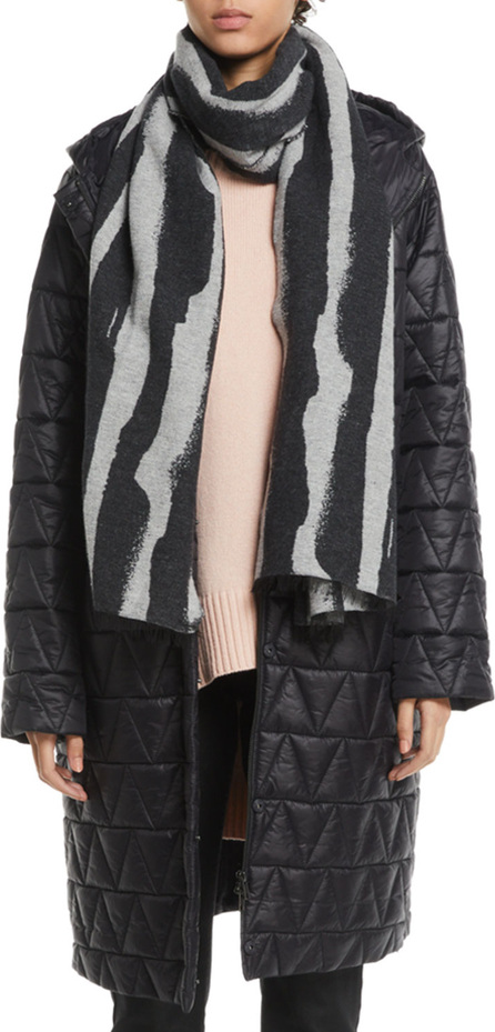 Eileen Fisher Chevron Quilted Hooded Long Coat