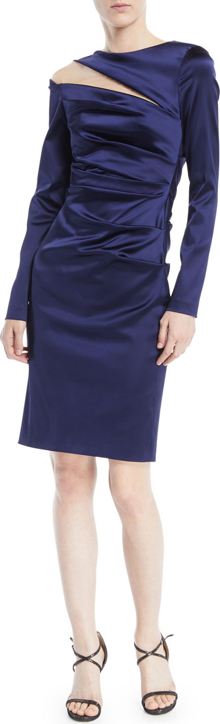 Talbot Runhof Rogue Shoulder-Slit Long-Sleeve Ruched Stretch-Satin Cocktail Dress