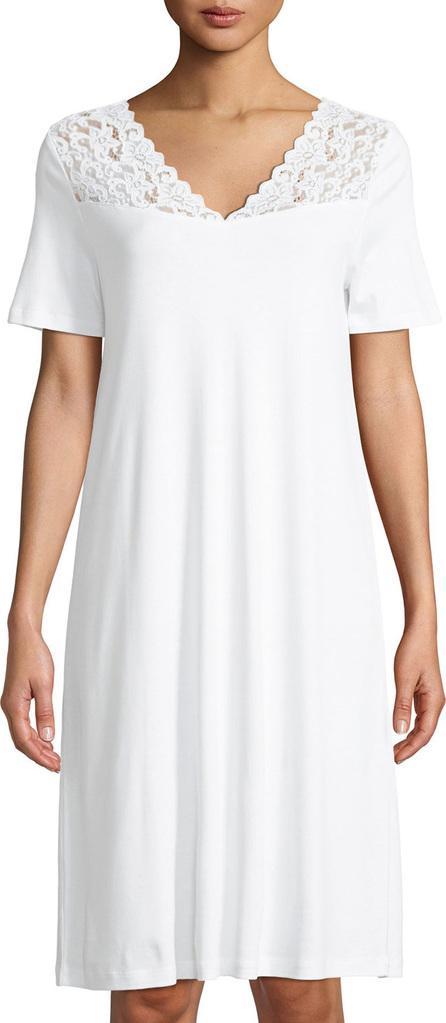 Hanro Short-Sleeve Lace-Trim Nightdress