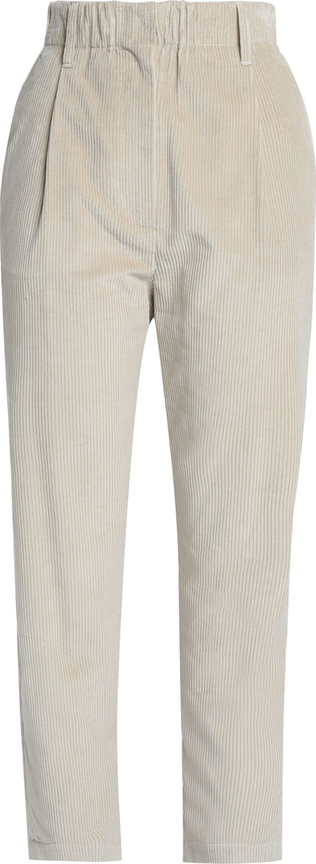 Brunello Cucinelli Cropped cotton and cashmere-blend corduroy straight-leg pants