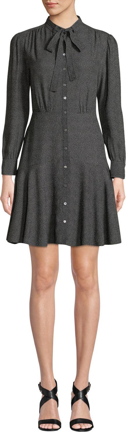 Rebecca Taylor Tie-Neck Button-Front Long-Sleeve Sprinkle-Dot Silk Dress