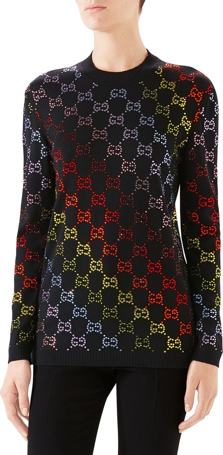 Gucci Rainbow-Rhinestoned Wool Sweater