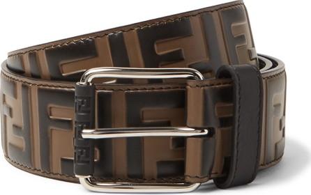 Fendi 4cm Brown Logo-Embossed Leather Belt
