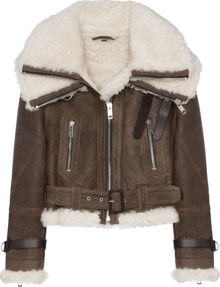 Burberry London England Cropped and belted aviator jacket