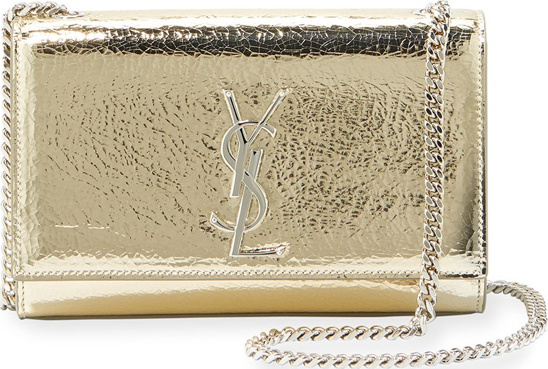 8536832dc81c Saint Laurent Kate Monogram YSL Small Crackled Metallic Leather Crossbody  Bag - Silvertone Hardware