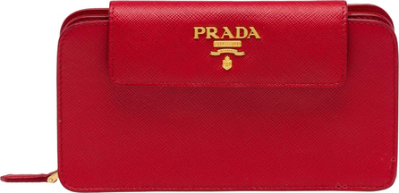 Prada Saffiano Leather Metal Oral Phone Wallet on a Chain