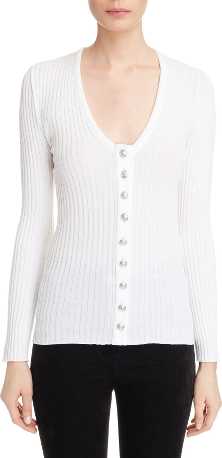 Balmain Button Front Knit Top