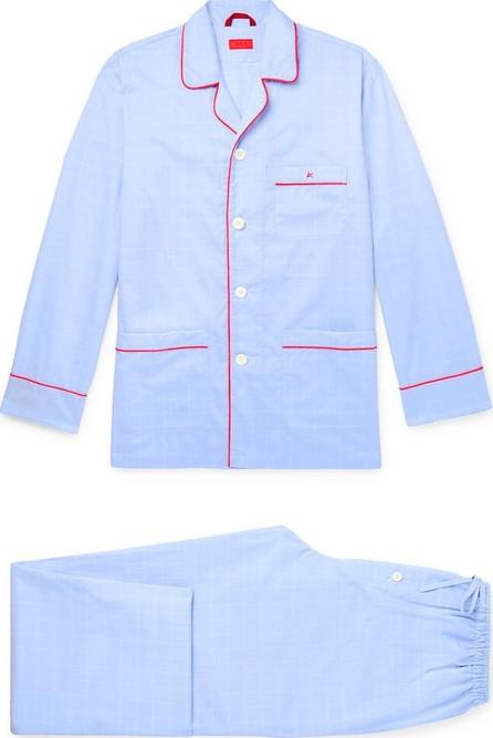 Isaia Piped Striped Cotton Pyjama Set
