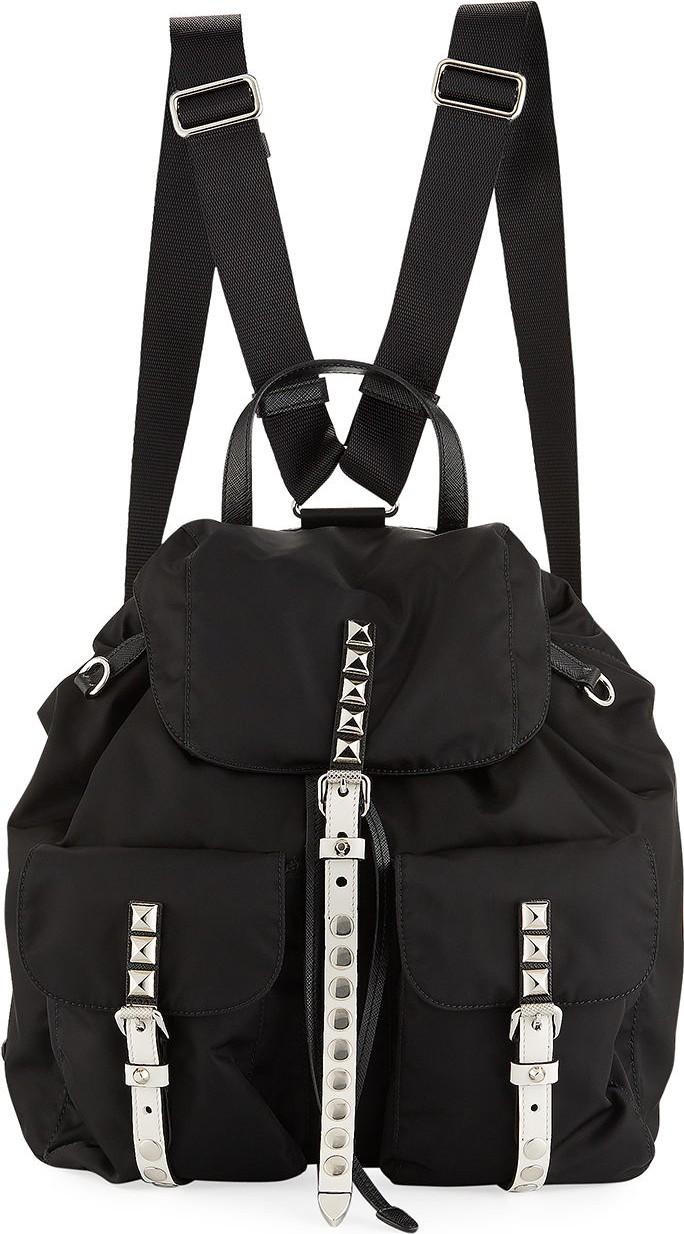 76ba70801b2c Prada Prada Black Nylon Backpack with Studding - Mkt