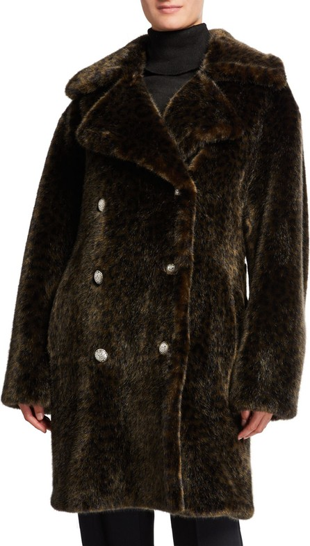 Faz Not Fur Leopard Faux Fur Cold Solider Coat