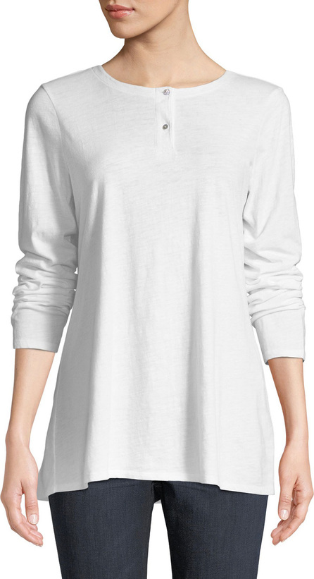 Eileen Fisher Slub Jersey Button-Neck Long-Sleeve Tee