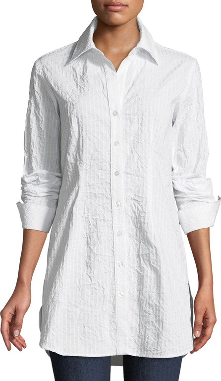 Finley Kaylynn Button-Front Long-Sleeve Crinkle Tonal-Striped Shirt