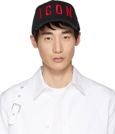 DSQUARED2 Black & Red 'Icon' Baseball Cap