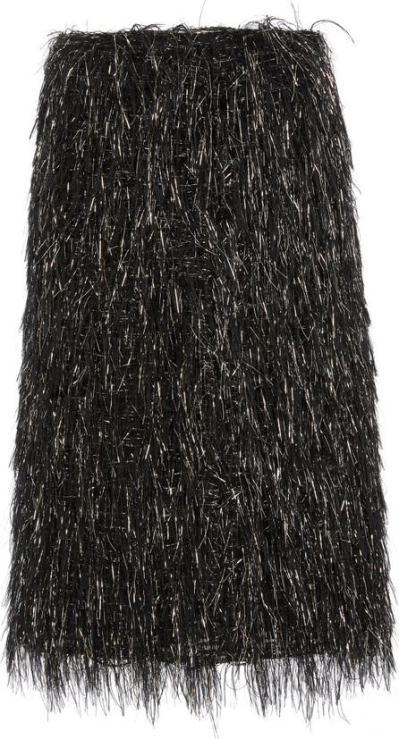 Mansur Gavriel Fringed Silk-Blend Lamé Skirt