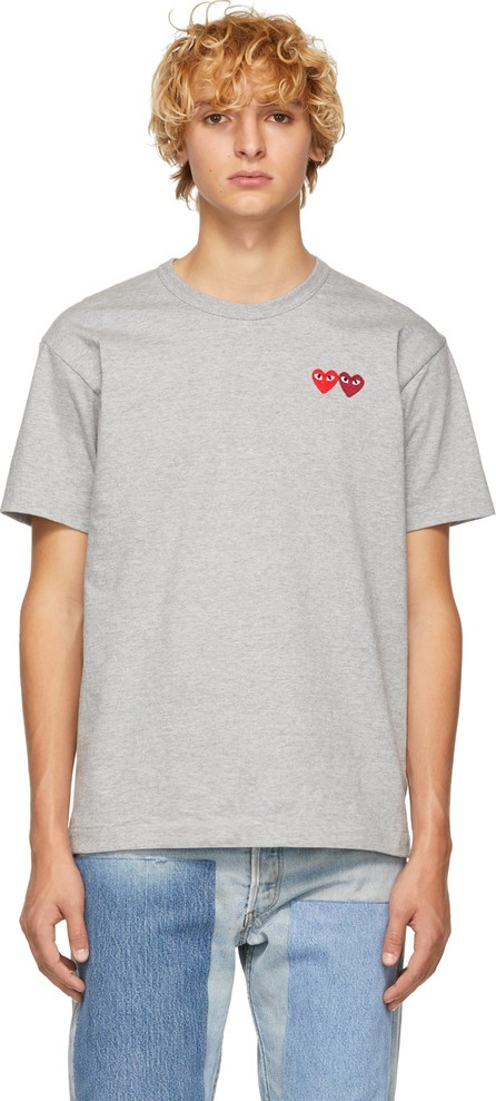 Comme Des Garcons PLAY Grey Double Heart T-Shirt