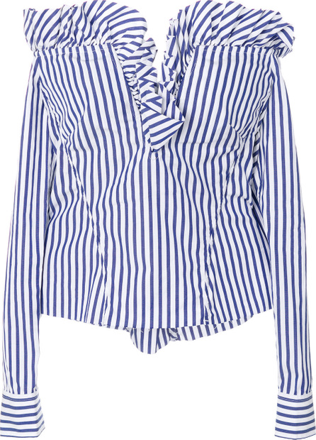 Off-the-shoulder ruffled striped blouse