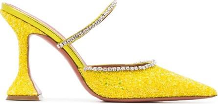 Amina Muaddi Gilda 95 leather glitter crystal mules