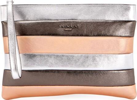 Balmain Colorblock Striped Pochette Wallet