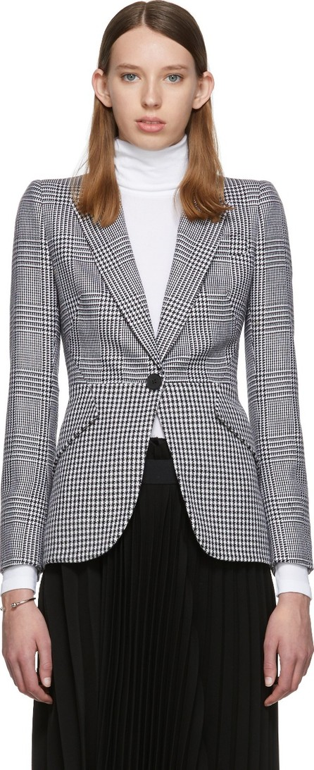Alexander McQueen Black & White Houndstooth Wool Prince of Wales Blazer