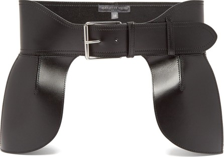 Alexander McQueen Buckled peplum leather belt