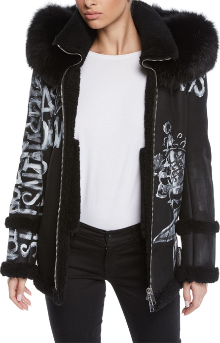 Mr&Mrs Italy Graffiti-Print Zip-Front Oversized Biker Jacket w/ Shearling Fur