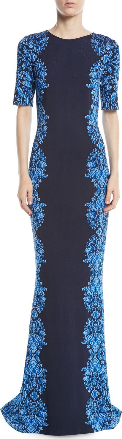 St. John Brocade-Graphic Half-Sleeve Knit Gown