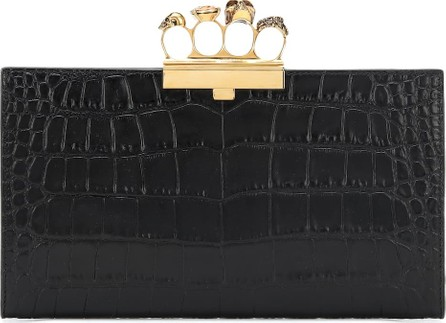 Alexander McQueen Skull Four-Ring leather clutch