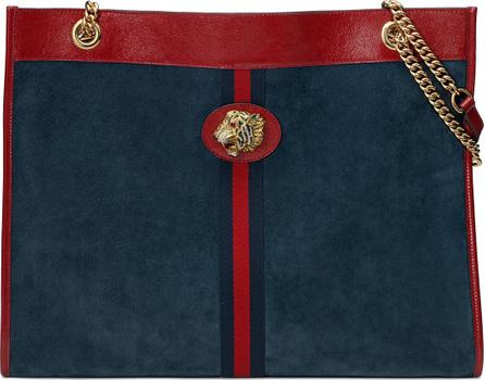 Gucci Linea Tiger Large Suede Shoulder Tote Bag