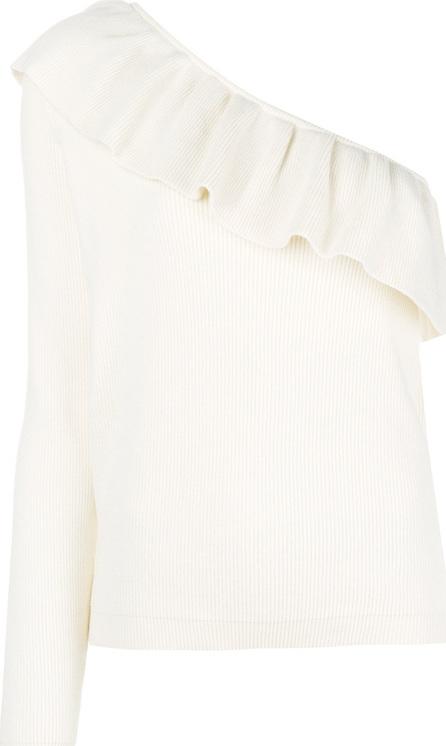 Ganni Frill-trim off-shoulder sweater