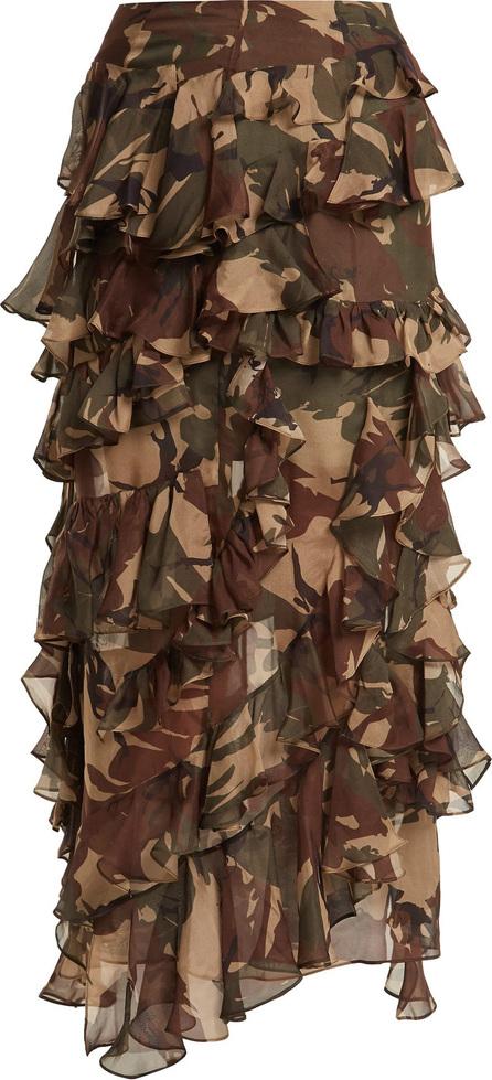 Preen Melena camouflage-print ruffle skirt
