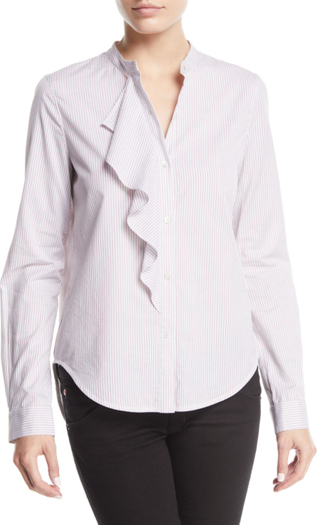 Derek Lam 10 Crosby Striped Long-Sleeve Ruffle Button-Front Shirt