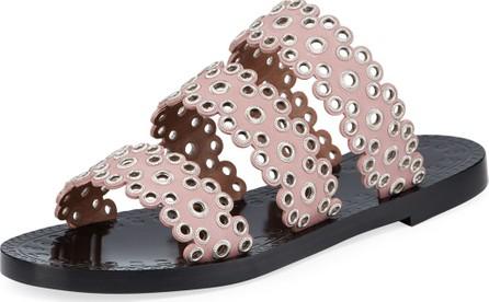 Alaïa Grommet Studded Leather Slide Sandals