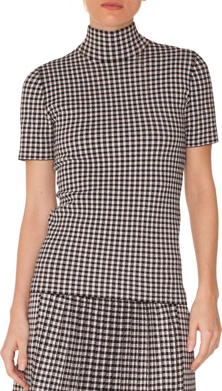 Akris Punto Turtleneck Short-Sleeve Check Knit Top