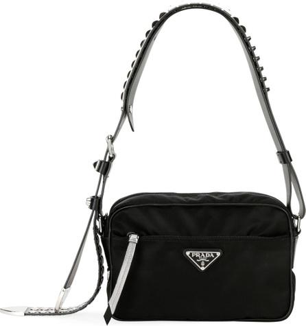 Prada Small Nylon Shoulder Bag with Studded Strap