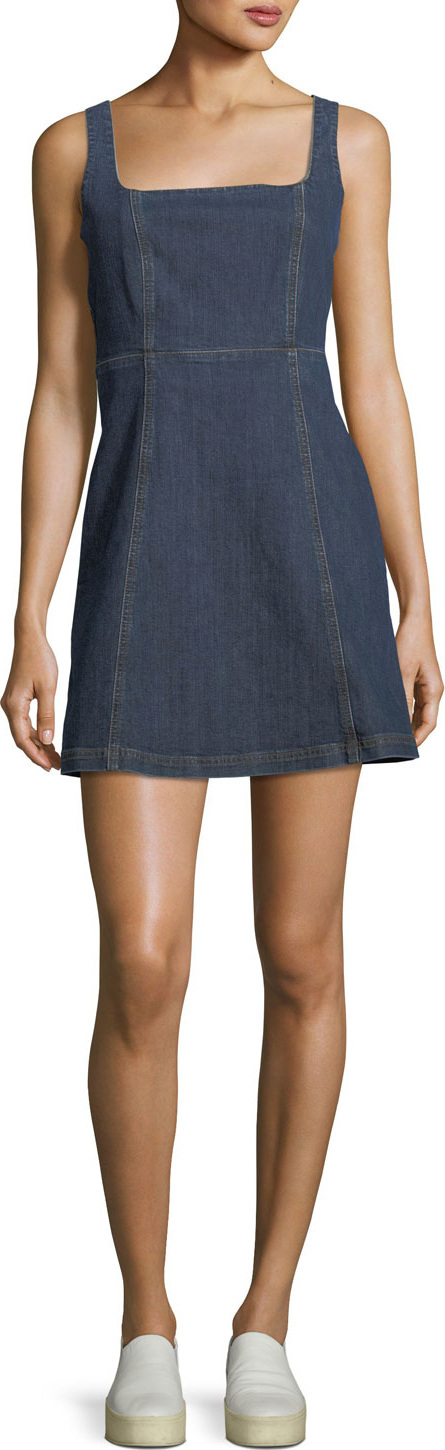 Alexa Chung Square-Neck Sleeveless Cutout Denim Mini Dress