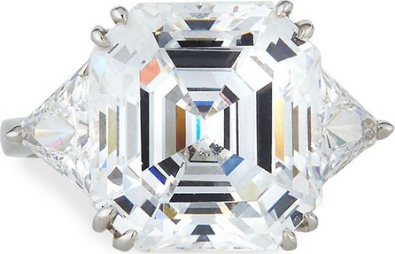 Fantasia by DeSerio 14k White Gold Asscher & Trillion Cubic Zirconia Ring