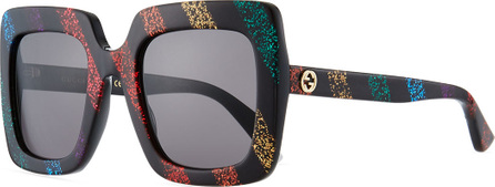 Gucci Glitter Striped Acetate Rectangle Sunglasses