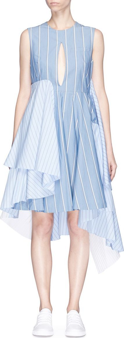FACETASM Front slit mixed stripe patchwork dress