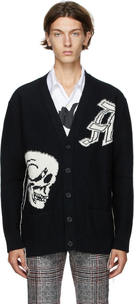 Alexander McQueen Black Intarsia Gothic Skull Cardigan