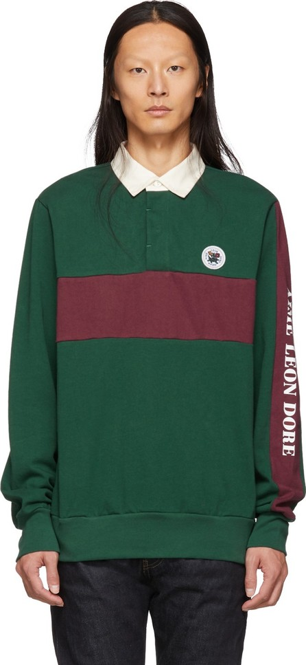 Aimé Leon Dore Green & Burgundy Striped Rugby Polo