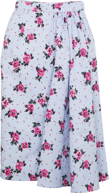Alessandra Rich Rose Print Asymmetric Skirt