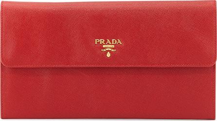 Prada Saffiano Flap Travel Wallet, Red (Fuoco)