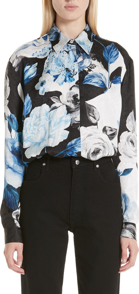 Off White Floral Silk Blouse