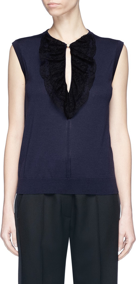 Lanvin Guipure lace keyhole front sleeveless wool knit top