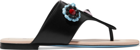 Fendi Studded floral-appliquéd leather slides