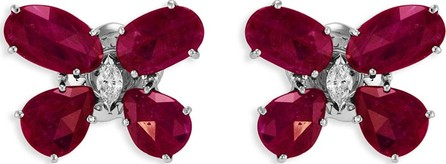 Staurino Fratelli Nature 18k White Gold Ruby Butterfly Earrings