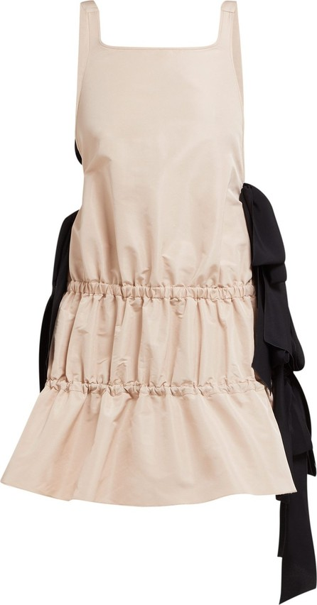Nº21 Bow-embellished tiered twill dress