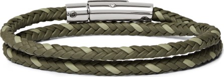 Tod's Woven Leather and Silver-Tone Wrap Bracelet