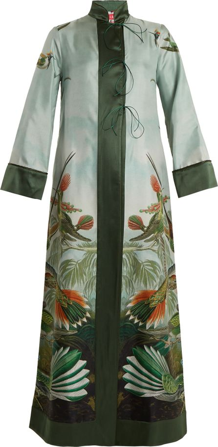 F.R.S For Restless Sleepers Euribia bird-print lace-up silk-twill robe